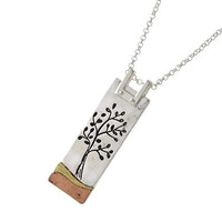 Industrial Tree Pendant Necklace - Stamped Tree - Tri Tone Metal - Mixed Media - Tree of Life
