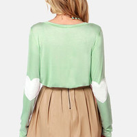 Hearts-ichord Mint Green Long Sleeve Top