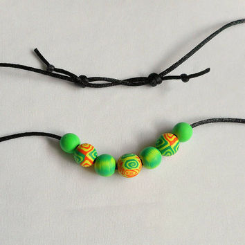 Colorful Green and Orange Polymer Clay Beads on Satin Cord, Soft Comfortable Necklace for Women Or Men, Inexpensive Gift, Made in Colorado