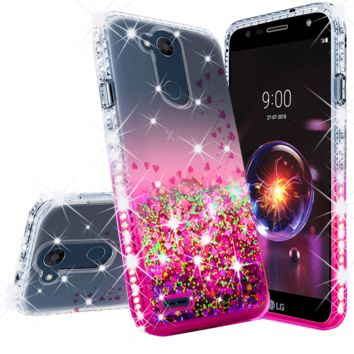 LG X Power 3, X Power 3 Case Liquid Glitter Phone Case Waterfall Floating Quicksand Bling Sparkle Cute Protective Girls Women Cover for X Power 3 - Hot Pink