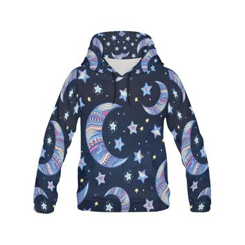 Stars And Crescent Moon In Hand-drawn All Over Print Hoodie for Women (USA Size)