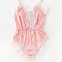 Lace Trim Surplice Front Sleep Bodysuit -SheIn(Sheinside)