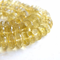 Outstanding Lemon Quartz Gemstone Rondelle Faceted German Cut 9 to 9.5mm 35 beads