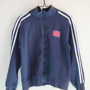 90s Britpop Track Jacket With Union Jack Patch