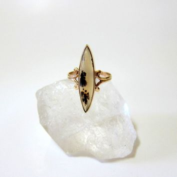 Antique Cabochon Marquis Dendrite Agate 10KT Rose Gold Ring