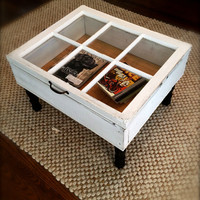 Reclaimed Window Coffee Table with Storage, Upcycled, Repurposed
