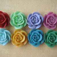 8PCS - Rose Flower Cabochons - 18mm - Autumn 2012 - Cabochons by ZARDENIA