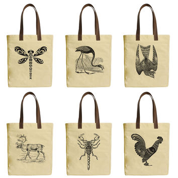 Women Animals Beige Printed Canvas Tote Bags Leather Handles WAS_30