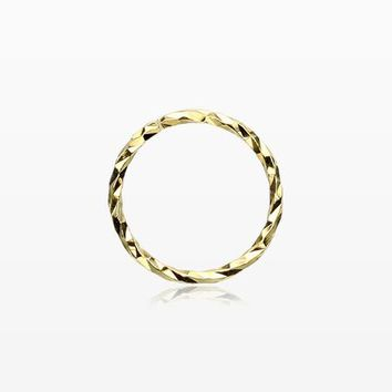 Golden Sterling Silver Textured Bendable Hoop Ring