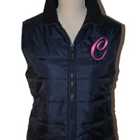 Monogrammed Ladies' Quilted Vest NAVY Color QUALITY Puffy the best embroidered gift Christmas Birthday Company Logo Monogram sale