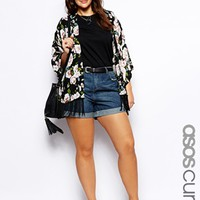ASOS CURVE Denim Short In Indigo - Indigo