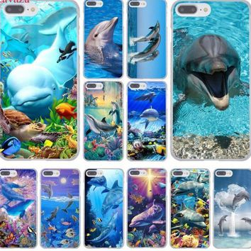 Dolphin Ocean Dance And Jumping Hard Phone Cover Case for iphone 5 6 7 8 X