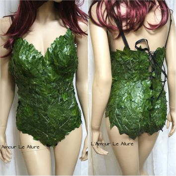 Full Mother Nature Poison Ivy Monokini Body Suit Costume Rave Bra Cosplay Halloween