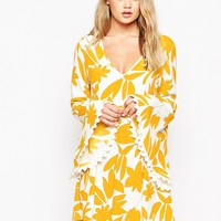 ASOS 70's Dress with Fluted Sleeve in Retro Print
