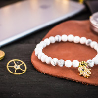 6mm - White howlite beaded stretchy bracelet with gold micro pave Hamsa hand charm & ball, mens bracelet, womens bracelet, custom bracelet