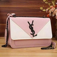 YSL Fashion Women new Contrast Color Chain Shoulder Bag Crossbody Bag Pink