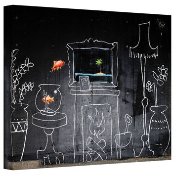 Art Wall Banksy 'Chalk Fireplace' Gallery-Wrapped Canvas | Overstock.com