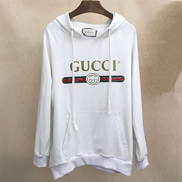 Gucci Fashion Long Sleeve Hooded Print Casual Sweater-White