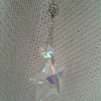 Iridescent Crystal Star and Heart Dangling Sexy Belly / Navel Ring Body Jewelry