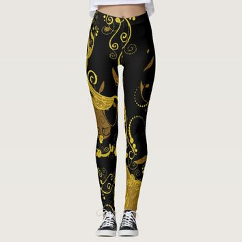 Black/Gold Women's Leggings