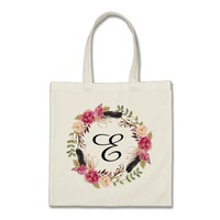 Personalized Floral Tote Bag Bridesmaid Bohemian