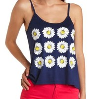 Daisy Graphic Swing Tank Top by Charlotte Russe - Dark Blue