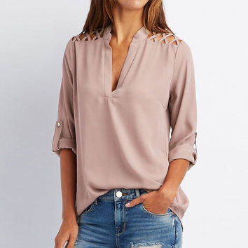 Fashion Lasies V-neck Long Sleeve Hollow Out Sexy Tops Spring