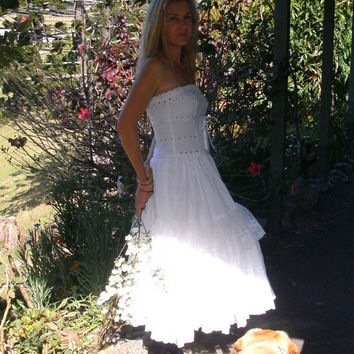 Sweet country white lace dress upcycled wedding by cypressavenue