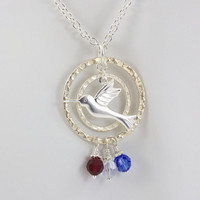 Birthstone Necklace, Hummingbird Pendant, Choose Up to 7 Birthstones