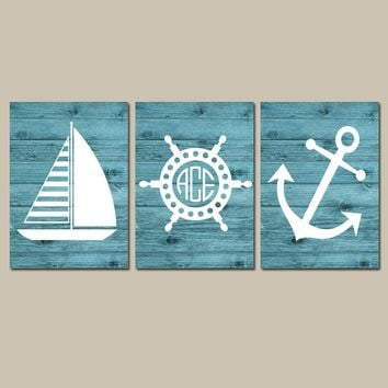 Coastal Wall Art, Coastal CANVAS or Print, Nautical Bathroom Decor, Sailboat Anchor, Nautical Monogram, Baby Boy Nursery Decor, Set of 3