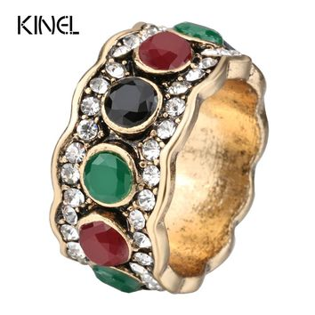 Kinel Crystal Antique Ring For Women 2017 New Fashion Dubai Gold Colorful Resin Vintage Wedding Jewelry
