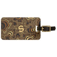 Cool brown stripped fractal. Monogram. Bag Tag