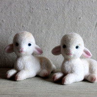 flocked lambs : vintage Easter decorations