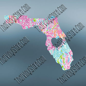Florida Preppy Pattern State Decal | Florida Heart Home Decal | I Love Florida Decal | Homestate Decals | Love Sticker | 468