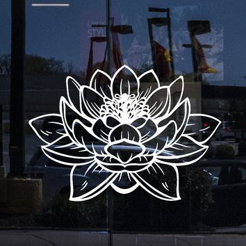 Window And Wall Vinyl Decal Lotus Buddha Shop Store Decor z2906w