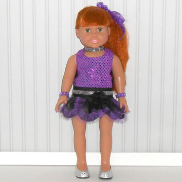 Black and Purple Rock Princess Halloween Costume fits 18 inch Girl Doll American Doll Clothes