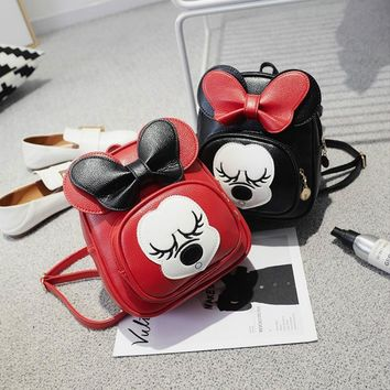 Baby Girl Cute Backpacks Mini Bags with Big Bow Minnie Red Leather Back Bags 2017 New Fashion Cartoon Mouse Bags with Big Ears