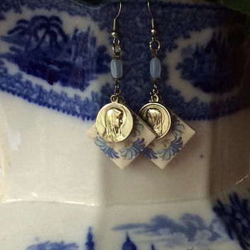 Pretty blue and white flowered vintage ceramic earrings with rosary beads and Mary religious medals