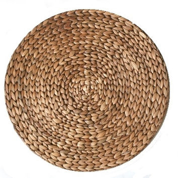 Round  Water Hyacinth Placemats S/4 | Brown
