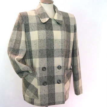 vintage Wool Coat / 80s Jacket / Buffalo Plaid / Double Breasted / Duffle Coat / Plaid Wool Fabric / Womens Winter Jacket / Warm Winter Coat