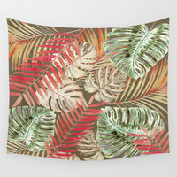 Jungle Tangle Red On Brown Wall Tapestry by ALLY COXON