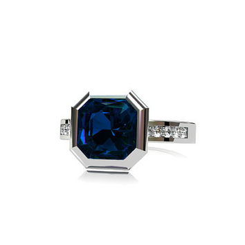 2.44ct London blue Topaz engagement ring, emerald cut, diamond ring, Engagement ring, teal engagement, Bezel, topaz engagement, unique