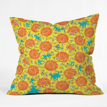 Sharon Turner Sunflower Field Throw Pillow