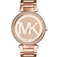 Mid-Size Rose Golden Stainless Steel Parker Chronograph Glitz Watch - Michael Kors
