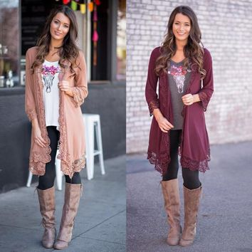 Lace Patchwork Pure Color Long Sleeves Long Loose Cardigan