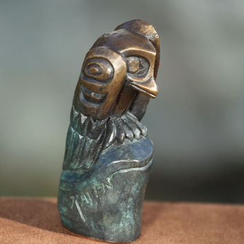 Small Raven Bronze Statue North Coast Indian Haida