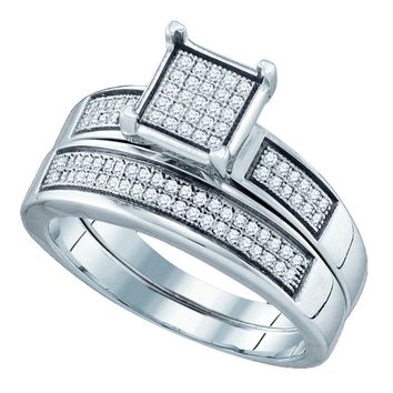 Sterling Silver Women's Round Diamond Square Bridal Wedding Engagement Ring Band Set 1-3 Cttw - FREE Shipping (US/CAN)