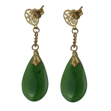 Gold Filled Nephrite Jade Drop Earrings, Vintage, 1930s to 1980s