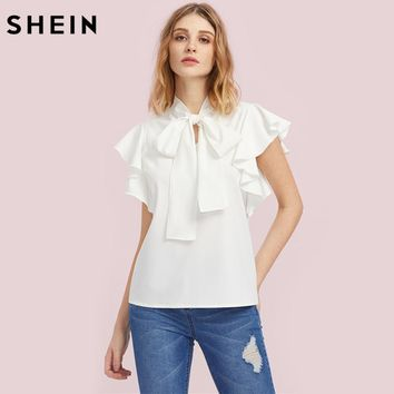 Bow Tie Front Flutter Sleeve Blouse Blouses for Women White Cap Sleeve Tie Neck Work Wear Blouse