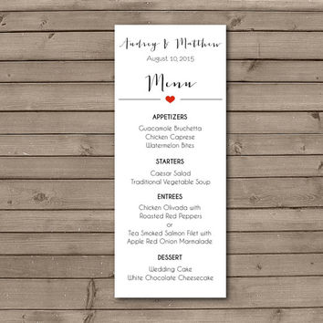 Printable Elegant Simple Heart Menu Design: Choose Your Heart Color